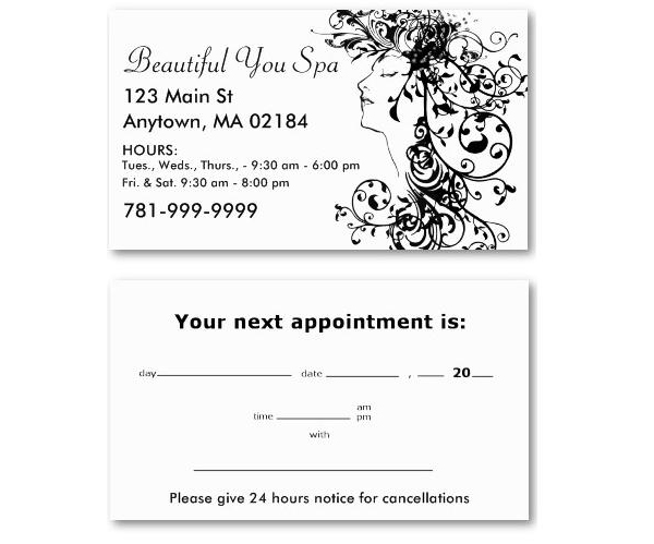 Interesting Salon Business Card Ideas Turn The Back Into An Appointment Reminder