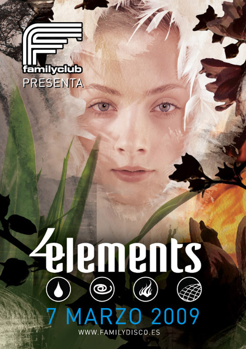 Night Club Flyer - Four Elements, Family Club Disco