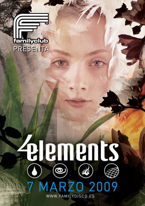 Night Club Flyer - Four Elements, Family Club Disco