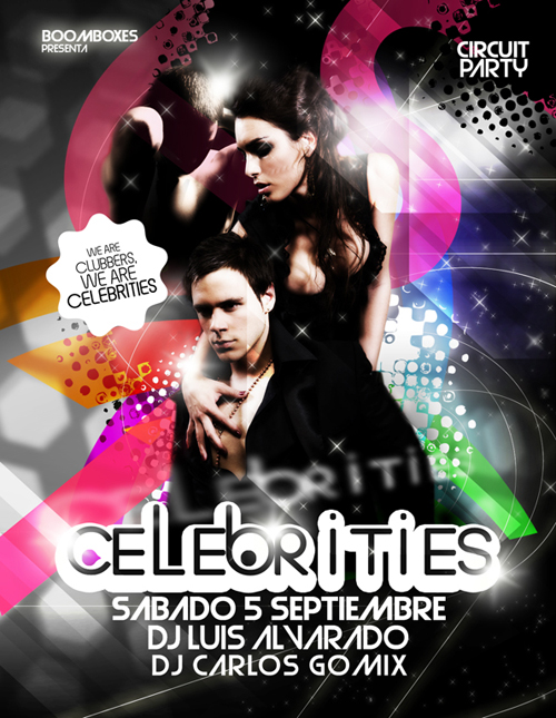 night club flyer celebrities circuit party