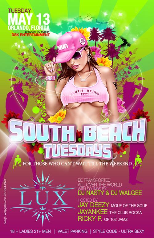 Night Club Flyer - Tuesday South Beach Entertainment