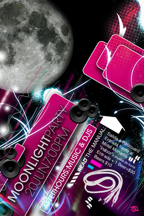 Night Club Flyer - Moonlight Party: Music and DJs