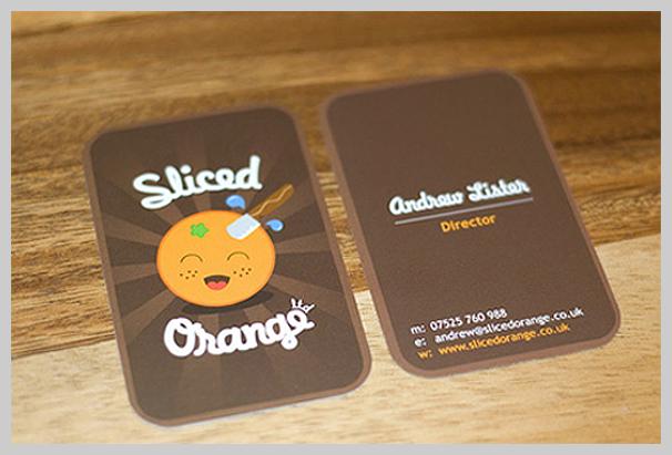 Brown Business Cards - Sliced Orange