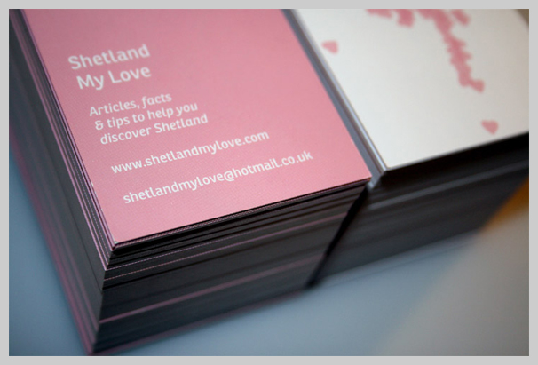 Pink Business Cards - Shetland My Love