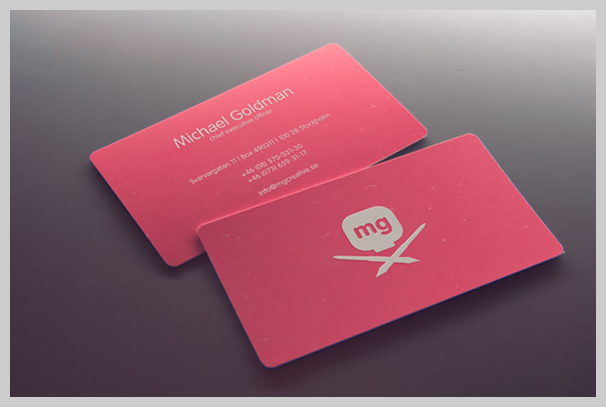 Pink Business Cards - MG Creative