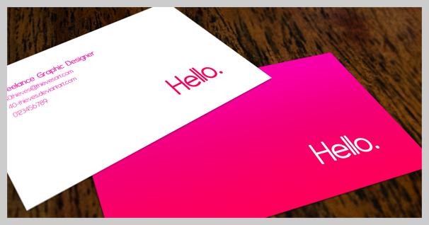 Pink Business Cards - Hello