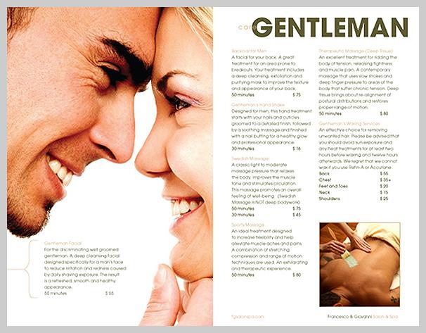 Spa Brochure Design - Francesco and Giovanni Salon Menu