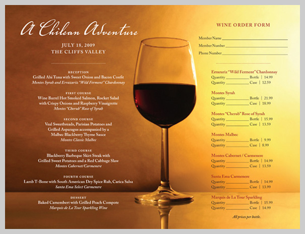 Wine Menu Design - A Chilean Adventure
