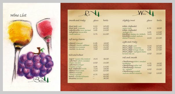 Wine Menu Design - Casa Bella