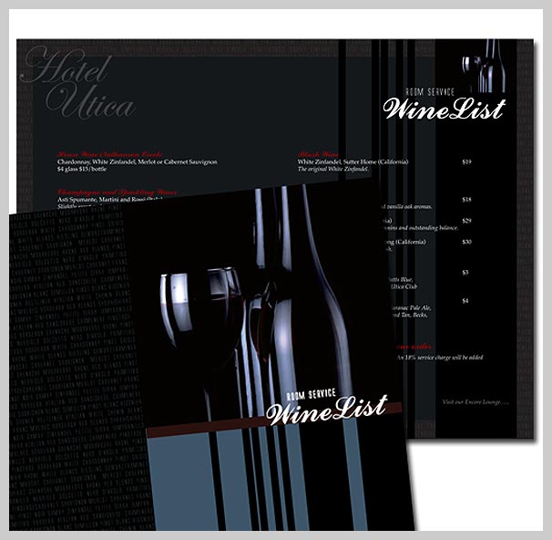 Wine Menu Design - Hotel Utica