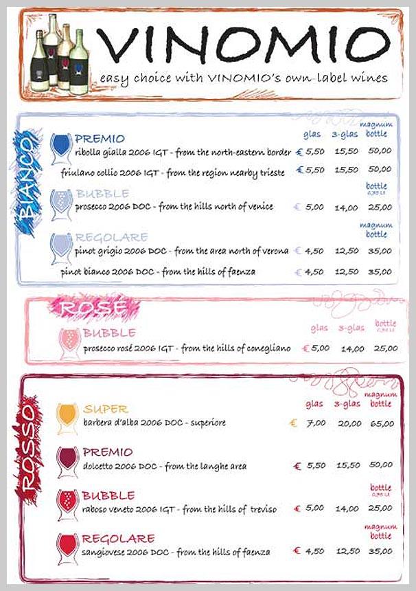 Wine Menu Design - Vinomio