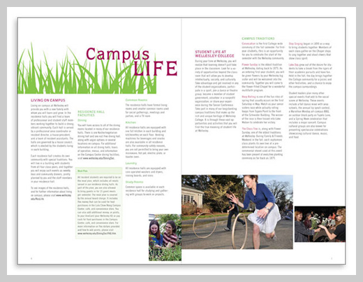 College Brochure Design   Wellesley College Orientation Series