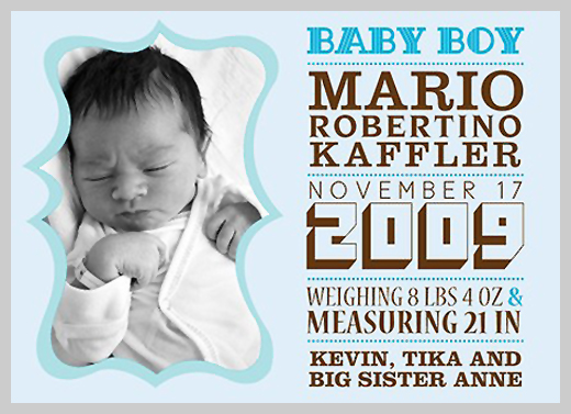 Custom Birth Announcement - Mario Robertino Kaffler