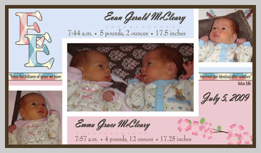 Custom Birth Announcement - Evan Gerald and Emma Grace McCleary