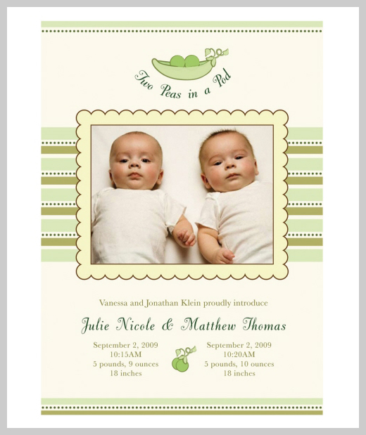 Custom Birth Announcement - Two Peas in a Pod