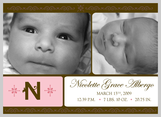 Custom Birth Announcement - Nicole Grace Albergo