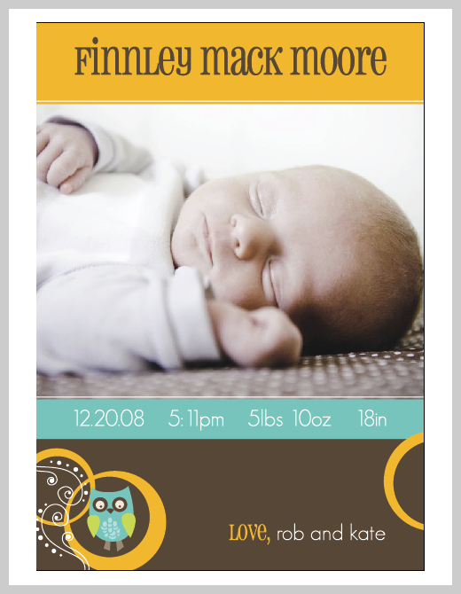 Custom Birth Announcement - Finnley Mack Moore