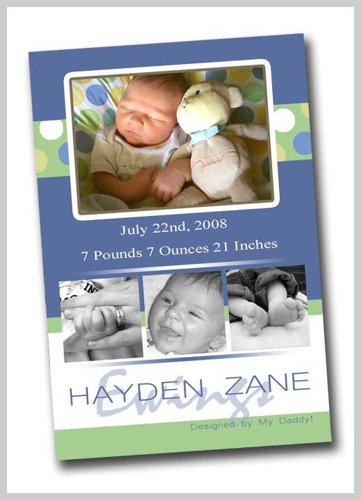 Custom Birth Announcement - Hayden Zane Ewings