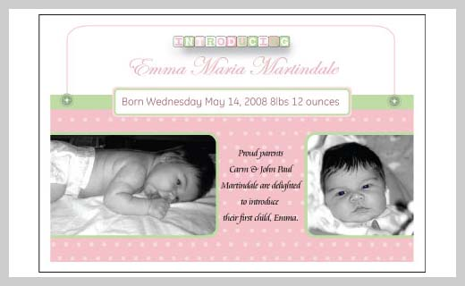 Custom Birth Announcement - Emma Maria Martindale