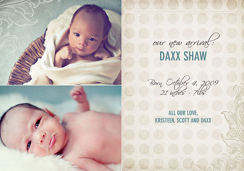 Custom Birth Announcement - Daxx Shaw