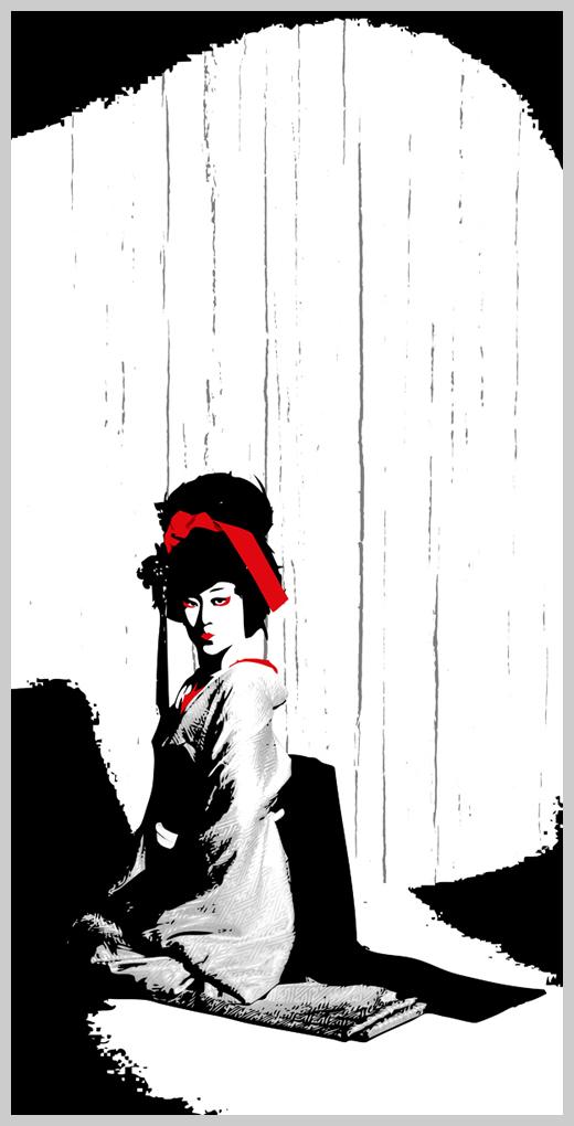 Digital Canvas Print - Kneeling Geisha