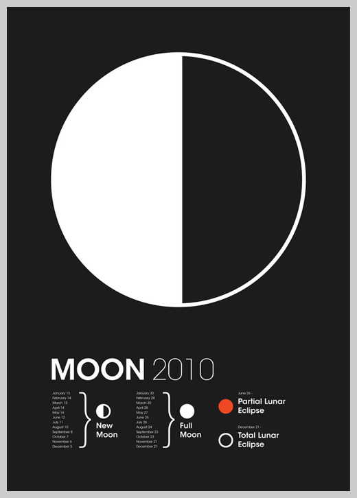 Minimalist Poster Design Examples - 2010 Global Astronomy Month: Moon