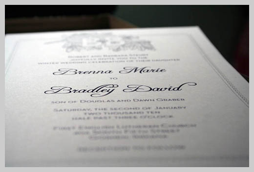 Wedding Invitation Greeting Cards - Brenna Marie and Bradley David