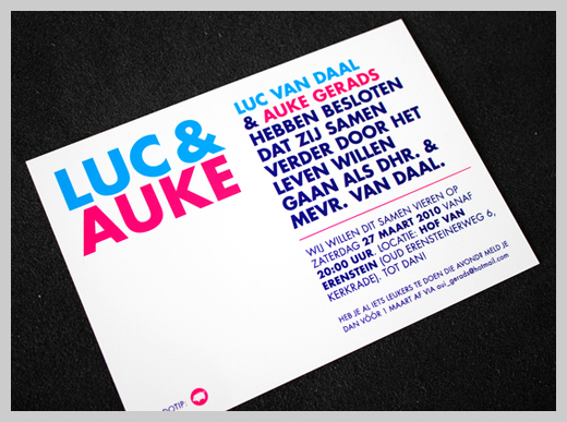 Wedding Invitation Greeting Cards - Luc and Auke