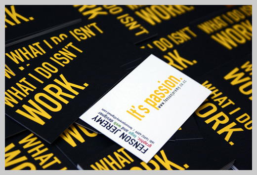 Yellow Business Cards - It's Not Work. It's Passion