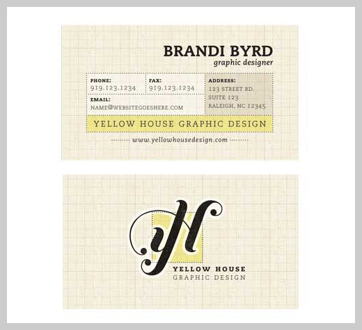 Yellow Business Cards - Yellow House Redesign