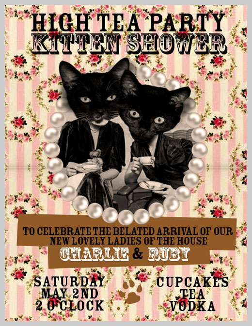 Sample Party Invitations - Kitten Shower