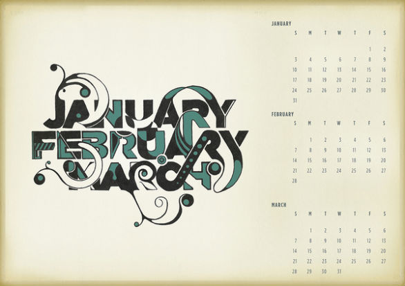 Colorful Calendar Samples - Typographic Calendar