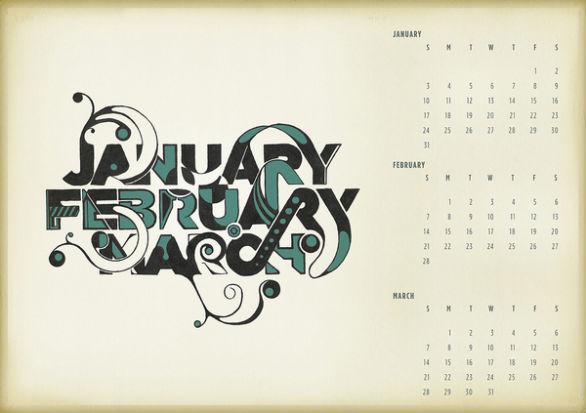 Colorful Calendar Samples - Typographic Calendar