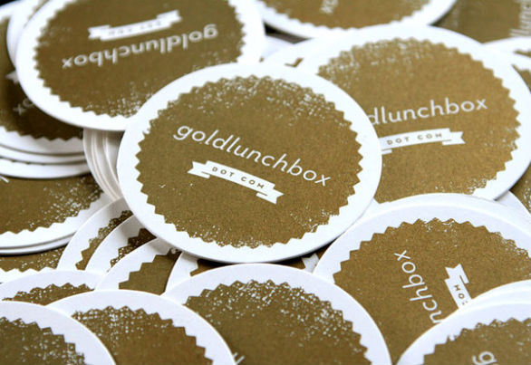 Custom Shaped Business Cards - Gold Lunch Box