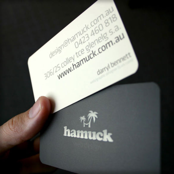 Custom Shaped Business Cards - Hamuck Web Design