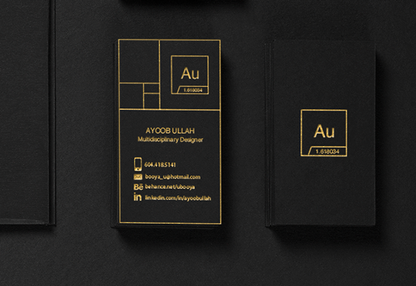 Black Business Card - Gold
