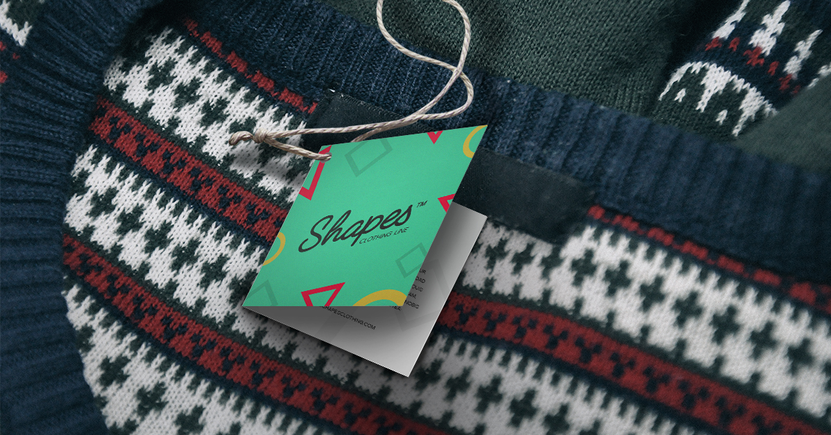 Folded hang tag on sweater