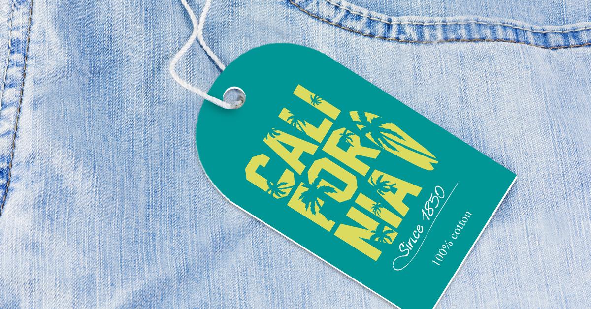 California denim clothing tag example