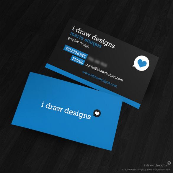 Black Business Cards - I Draw Designs