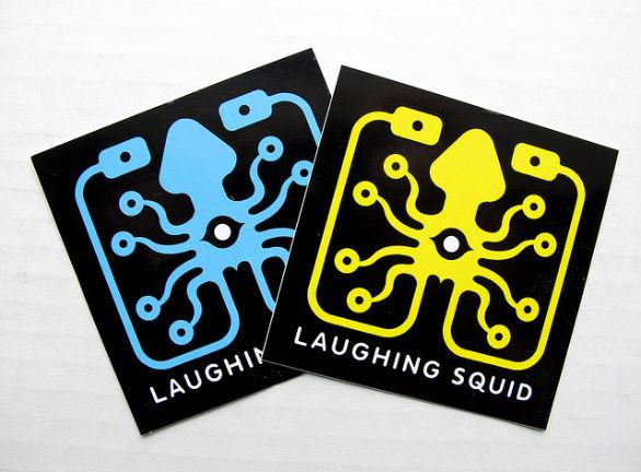 Custom sticker design laughing squid