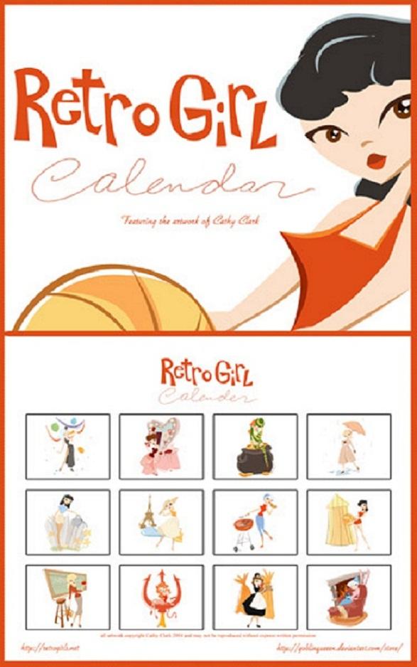 Pin-Up Girl Calendar - Retro Girl by Goblin Queeen