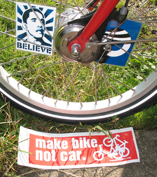 Bicycle Bumper Stickers - Make Bike Not Car