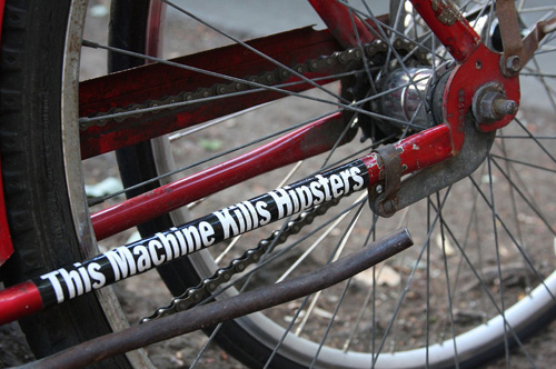 Bicycle Bumper Stickers - This Machine Kills Hipsters