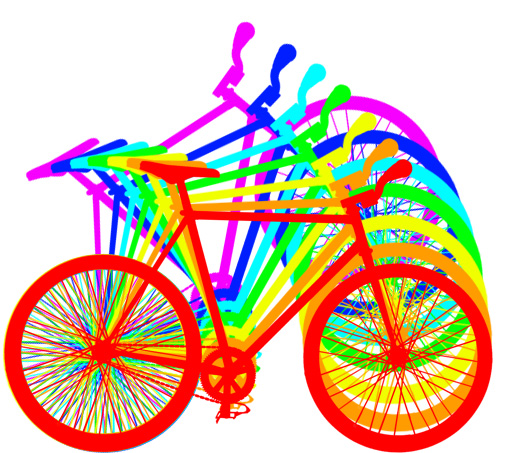 Bicycle Bumper Stickers - Rainbow