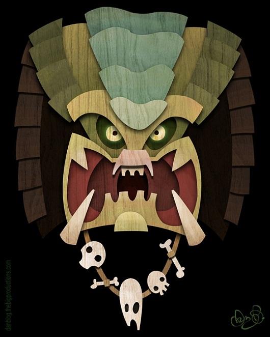 Tiki Art Poster Design Inspiration - Tiki Predator