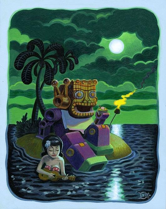 Tiki Art Poster Design Inspiration - Tiki Robot Loves Ukulele Girl