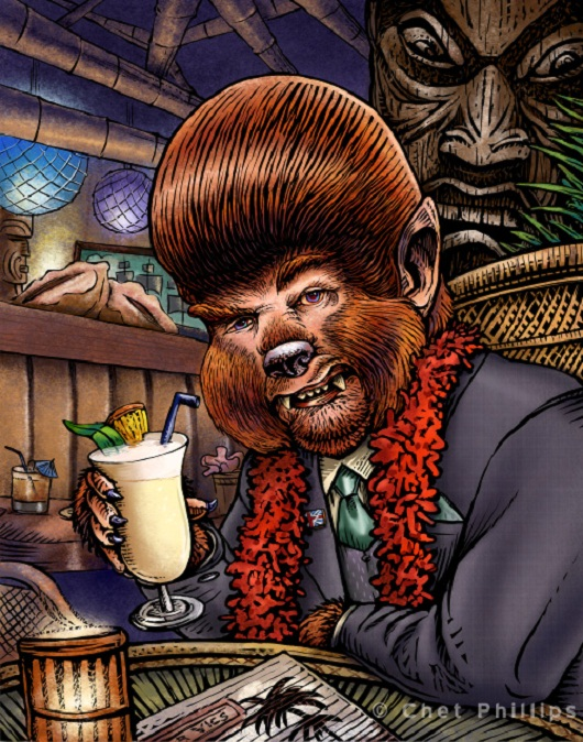 Tiki Art Poster Design Inspiration - His Hair was Perfect