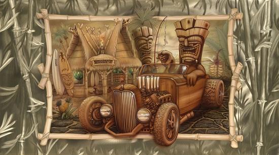Tiki Art Poster Design Inspiration - Woody's Hot Rod