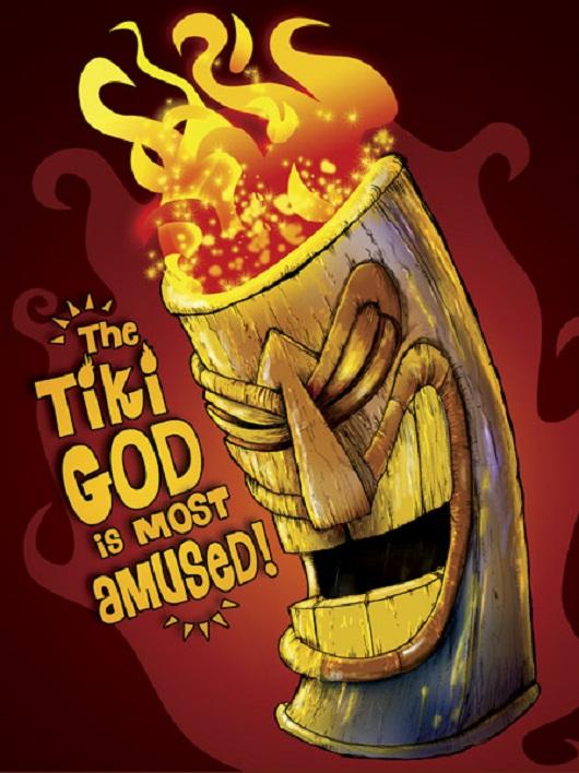 tiki art poster design inspiration - the tiki god is most amused