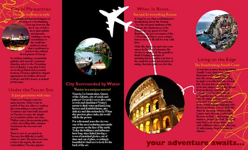 travel brochure examples - italy